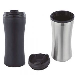 Termo ergonomico doble pared de acero inoxidable interior de plastico y tapa enroscable. Cap.450ml Mod. REQ